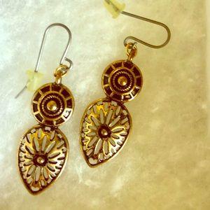 Gold tone Aztec earrings